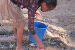 Una ragazza bagna l'orto